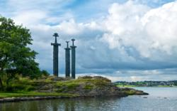 The County of Rogaland.Swords in Rock monument, Hafrsfjord.