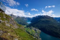 View from Mt. Hoven towards Loen Skylift, Loen and Lake Lovatnet.