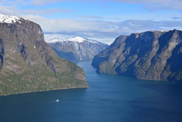The Aurlandsfjord seen from Stegastein Lookout. Aurland in Sogn og Fjordane, Norway. Photo: www.fjords.com