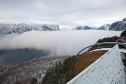 Skiing to Mt. Prest in Aurland. Taking in the view from Stegastein Lookout before starting skiing.