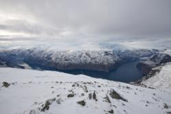 Skiing to Mt. Prest in Aurland. View down to the Aurlandsfjord.