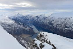 Skiing to Mt. Prest in Aurland. View down to Aurland, Flåm and the Aurlandsfjord.