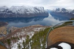 Enjoying the view from Stegastein Lookout, after the ski trip.