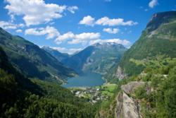 Geiranger and the Geirangerfjord seen from Flydalsjuvet Viewpoint.
