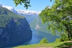 Geiranger and the Geirangerfjord seen from Ørnesvingen (The Eagle Road) Viewpoint.