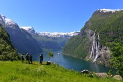 The Geirangerfjord and the Seven Sisters Waterfall seen from Skageflå Mountain Farm.