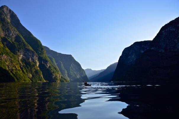 Kayaking the Nærøyfjord. Sogn og Fjordane, Norway. Photo: www.fjords.com