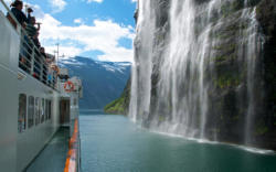 The Geirangerfjord and Bridal Veil Waterfall