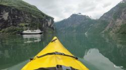 Kayaking the Geirangerfjord. Just left Grande Camping.