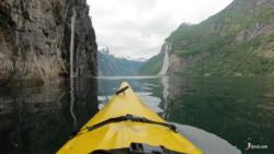 Kayaking the Geirangerfjord. Seven Sisters Waterfall i the background.