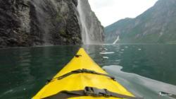 Kayaking the Geirangerfjord. Brudesløret (Bridal Weil) Waterfall.