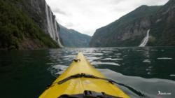 Kayaking the Geirangerfjord. Seven Sisters Waterfall (Left) Friaren (The Suitor) Waterfall (Right).