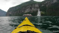 Kayaking the Geirangerfjord. Friaren (The Suitor) Waterfall.