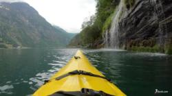 Kayaking the Geirangerfjord. On my way back towards Geiranger.