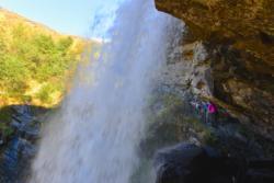 Storseterfossen Waterfall. You can walk behind it.