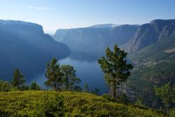 View from the hills close to Hovdungo Mountain Pasture in Aurland.