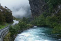 The road along the Flåmsdalen Valley is wild and beautiful. Photo: www.fjords.com