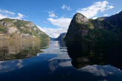 The Aurlandsfjord. Mt. Beitelen and the outer part of the Nærøyfjord to the right.