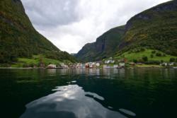 Kayaking on the Aurlandsfjord towards Undredal.