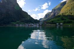 Kayaking into the Aurlandsfjord from Undredal