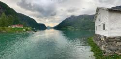 Skjolden where I glided out into the Lustrafjord in my kayak