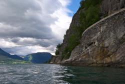 Steep road by the Lustrafjord