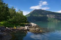 View from the Boat House by the Lustrafjord. Mt. Molden on the other side of the fjord.