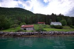 Old abandoned farm by the Lustrafjord.