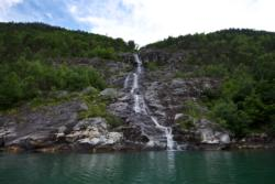 Waterfall on the outer part of the Lustrafjord.