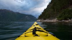 Kayaking the Sognefjord towards Mannheller Ferry Pier.