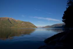 Early morning in the Sognefjord, view from my involuntarily camp.