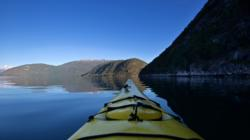 Early morning in the Sognefjord, view from my kayak.