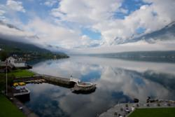 View from Hotel Ullensvang towards Sørfjorden, a branch of the Hardangerfjord.