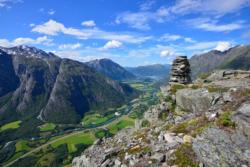 View from Mt. Litlefjellet towards the Romsdalen Valley. Åndalsnes and the Romsdalsfjord in the background.