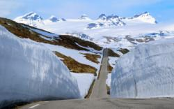 Sognefjellsvegen Mountain Road. Smørstabbreen Glacier in the background.