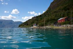 Kayaking on the Lustrafjord. View towards south.