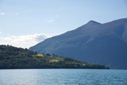 Kayaking on the Lustrafjord. View towards south. Urnes pointing out to the left.