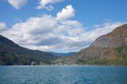 Kayaking on the Lustrafjord. View towards Solvorn.