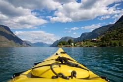 Kayaking on the Lustrafjord. View towards north.