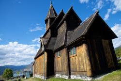 Inside Urnes Stave Church in Luster.