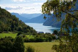 View from Urnes towards the Lustrafjord. Towards south.