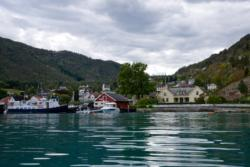 Solvorn by the Lustrafjord. Walaker Hotel to the right.