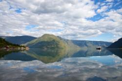 The Lustrafjord seen from Solvorn. Urnes on the other side.