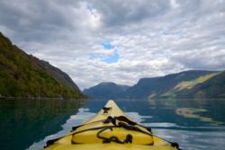 The Lustrafjord, kayaking back towards Marifjøra.