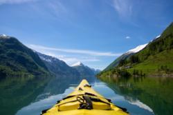 Kayaking the Fjærlandsfjord.
