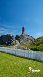 032 iphoneOna Lighthouse on Ona Island on the Atlantic Coast outside Molde, Møre og Romsdal, Norway.