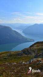 058 iphoneView from Mt. Molden towards Urnes and the Lustrafjord. Luster in Sogn og Fjordane, Norway.