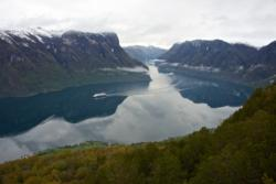 The Aurlandsfjord seen from Stegastein Lookout. National Tourist Route Aurlandsfjellet in Sogn og Fjordane, Norway.