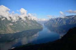 The Aurlandsfjord seen from Stegastein Lookout. National Tourist Route Aurlandsfjellet in Sogn og Fjordane, Norway.