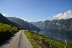View from the National Tourist Route Aurlandsfjellet. Aurland and the Aurlandsfjord below. Sogn og Fjordane, Norway.